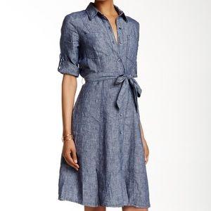 Max Studio Linen Denim Shirt Dress